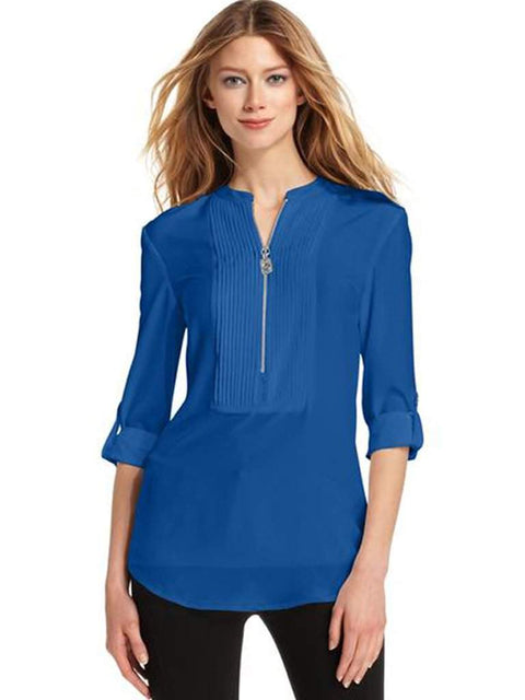 Michael Kors Long-Sleeve Pleat-Detail Shirt by Michael Kors - My100Brands
