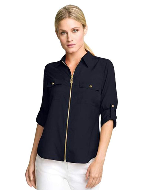 Michael Kors Dogtag Zip Camp Shirt by Michael Kors - My100Brands