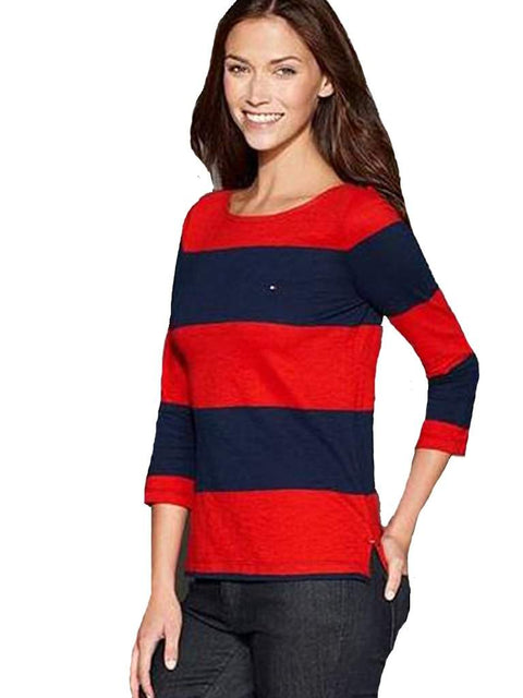 Tommy Hilfiger Top Three-Quarter-Sleeve Rugby Stripe Red by Tommy Hilfiger - My100Brands