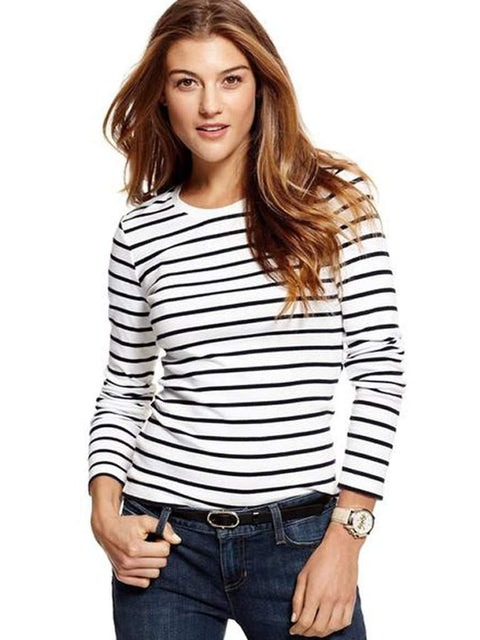 Tommy Hilfiger Top, Long-Sleeve Striped Crew-Neck by Tommy Hilfiger - My100Brands