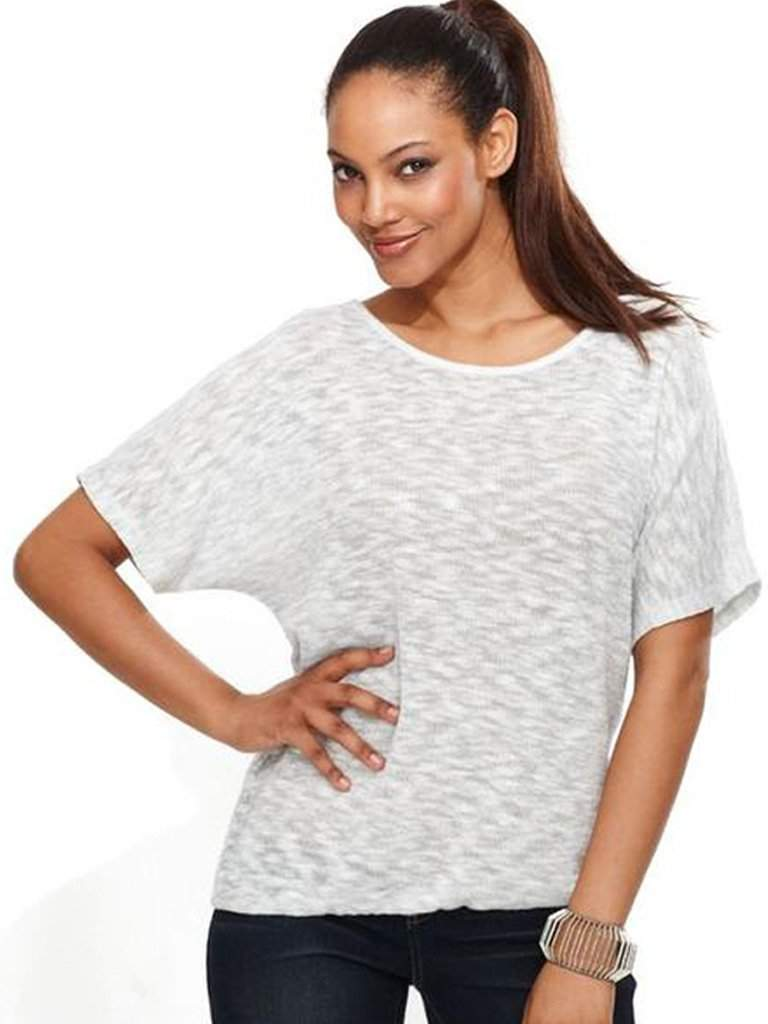White Short Sleeve Metallic Slouchy Top by My100Brands - My100Brands