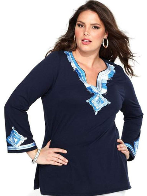 Women's Top Three-Quarter-Sleeve Embroidered Tunic by My100Brands - My100Brands