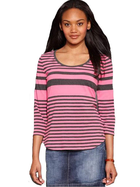 Tommy Hilfiger Top, Three-Quarter-Sleeve Striped Scoop-Neck (Picnic Pink) by Tommy Hilfiger - My100Brands