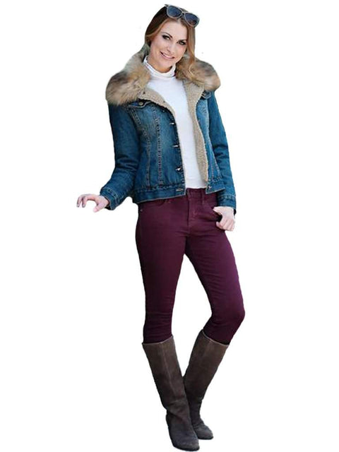 Faux Fur-Trimmed Denim Jacket by Fabulous-Furs - My100Brands