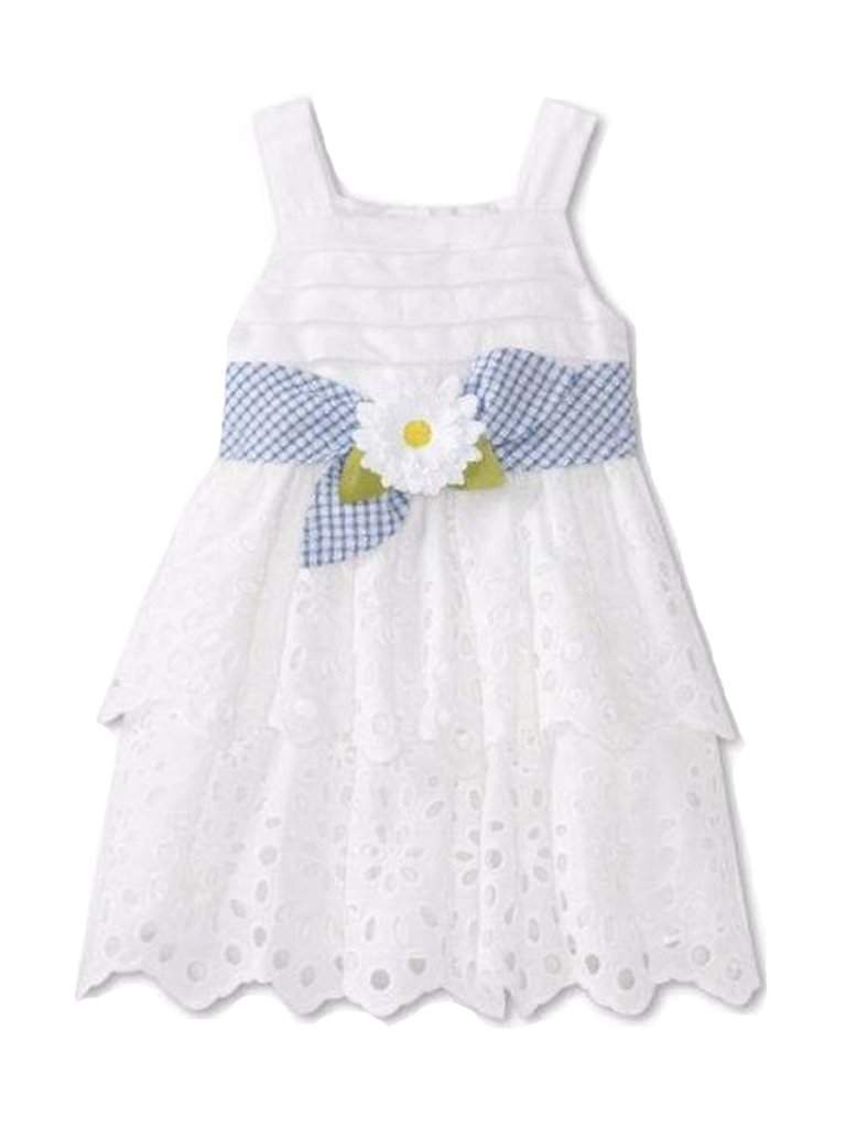 Sweet Heart Rose Girls Tiered Eyelet Dress by Sweet Heart Rose - My100Brands