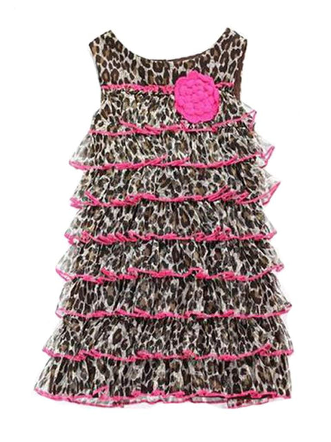 Sweet Heart Rose Girls' Cheetah Tiered Mesh Shift Dress by Sweet Heart Rose - My100Brands