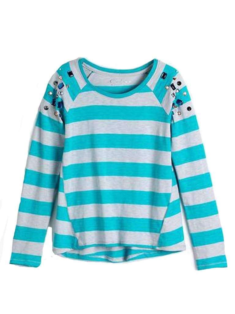 Jessica Simpson Girl's Embellished Hi-Lo Striped Cotton Top by Jessica Simpson - My100Brands