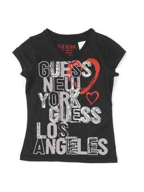 Guess NY Guess LA Sequined Girls T-Shirt by Guess - My100Brands