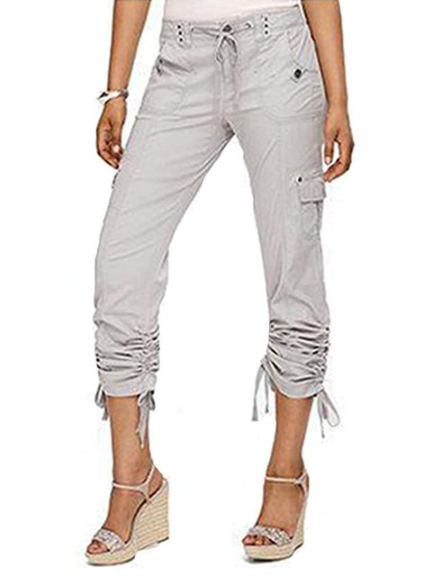 Drawstring Ruched Cargo Pants by My100Brands - My100Brands