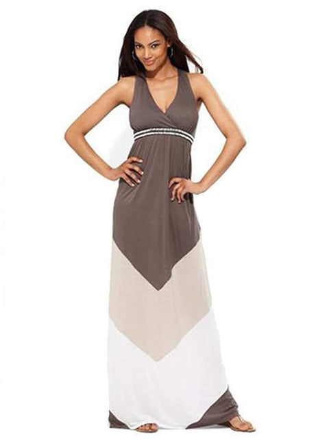Womens Sleeveless Colorblock-Stripe Maxi Dress by My100Brands - My100Brands
