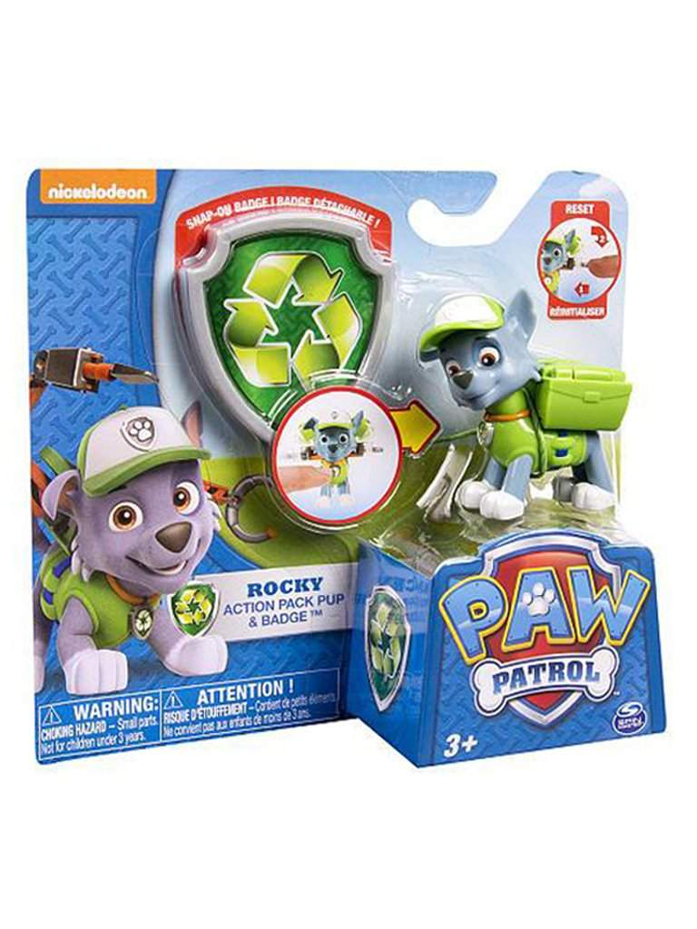 Paw Patrol Action Pack Pup and Badge - Rocky by My100Brands - My100Brands