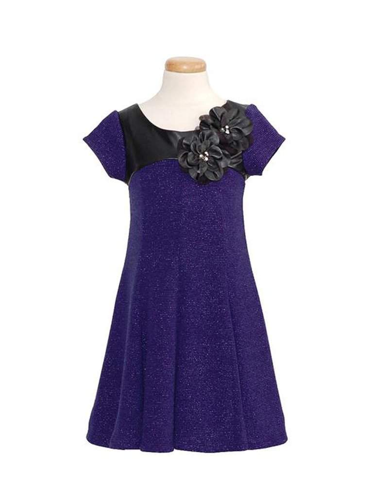 Bonnie Jean Girl's Royal Blue Faux Black Leather Flower Knit Dress by Bonnie Jean - My100Brands