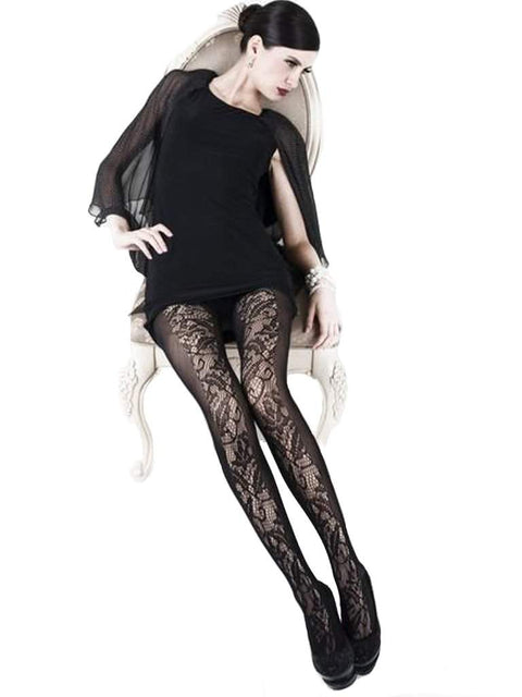 Lady's Floral and Vertical Bands Fishnet Tights by My100Brands - My100Brands