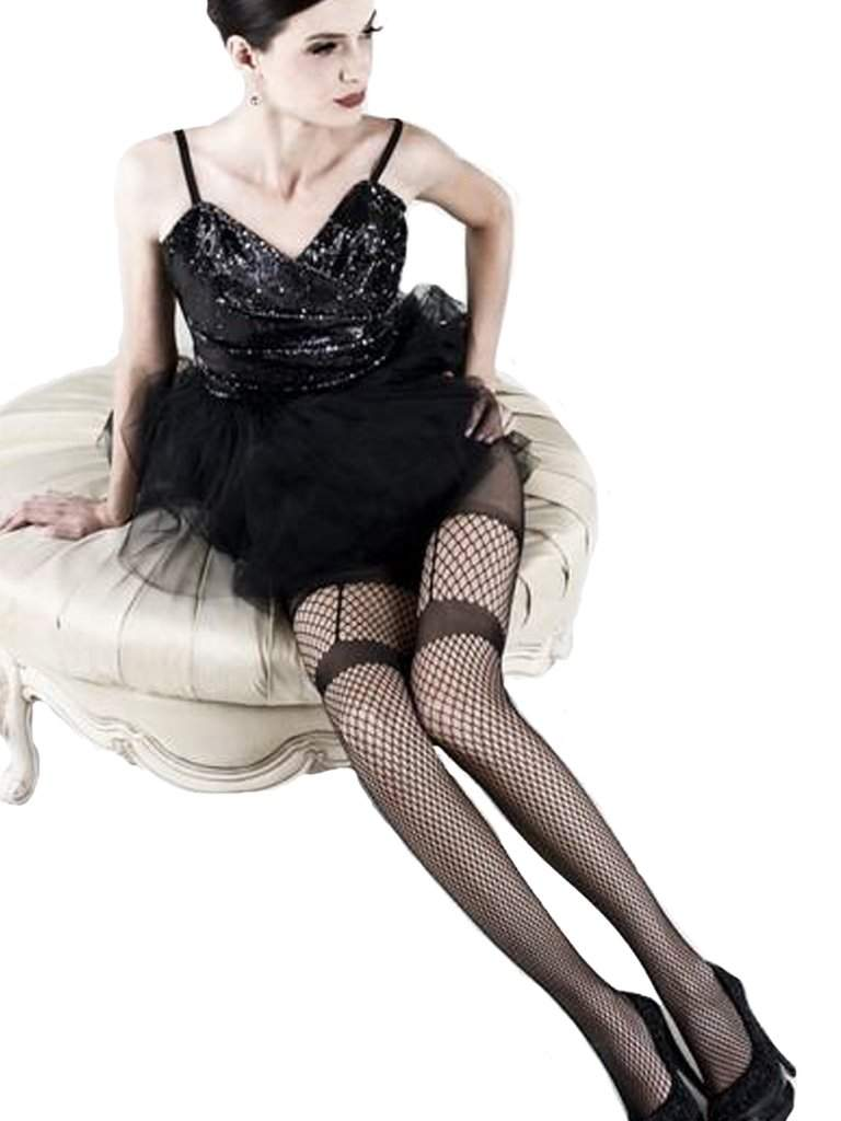 Lady's Faux Garter Belt Fishnet Tights by My100Brands - My100Brands