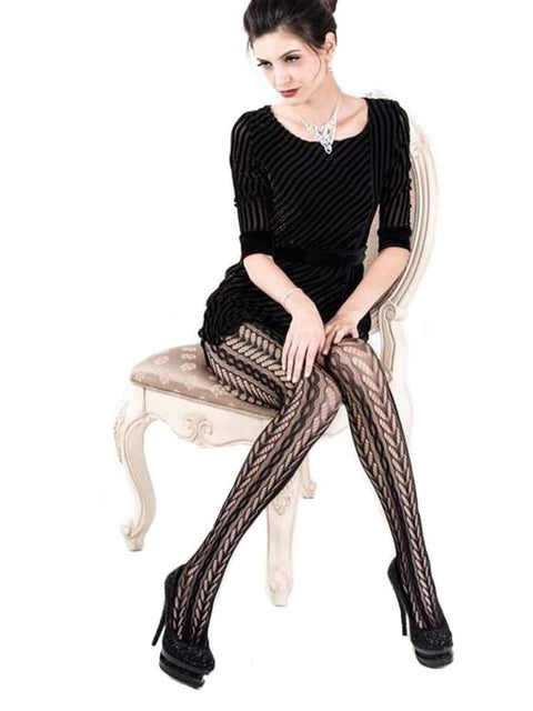 Lady's Leafy Columns & Cable Knit Fishnet Tights by My100Brands - My100Brands