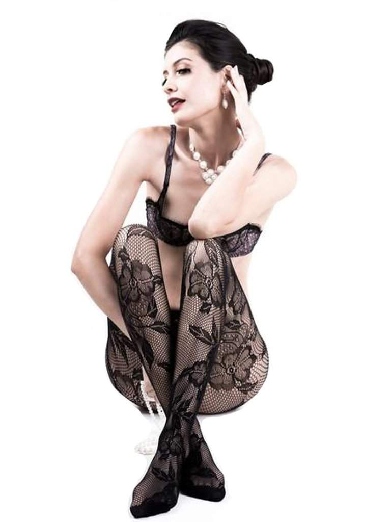Lady's Pansy Floral Fishnet Tights by My100Brands - My100Brands