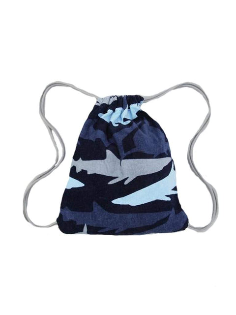 Blue Camo Shark Convertible Beach Towel/Backpack by My100Brands - My100Brands