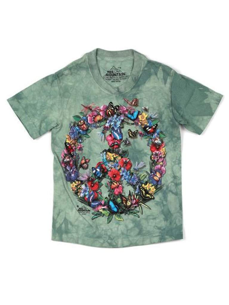 Butterfly Peace Sign T-Shirt by The Mountain - My100Brands