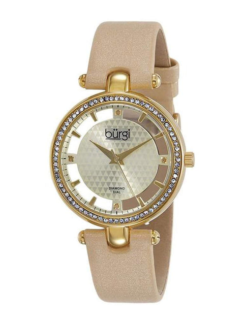 Burgi Crystal Accented Yellow Gold Swiss Quartz Women's Watch by My100Brands - My100Brands
