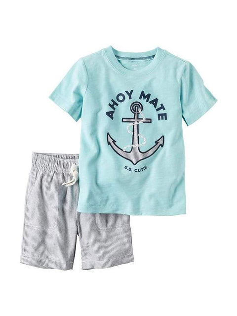 Carter's Ahoy Mate S.S. Cutie Embroidered Anchor Tee and Shorts Set by Carters - My100Brands
