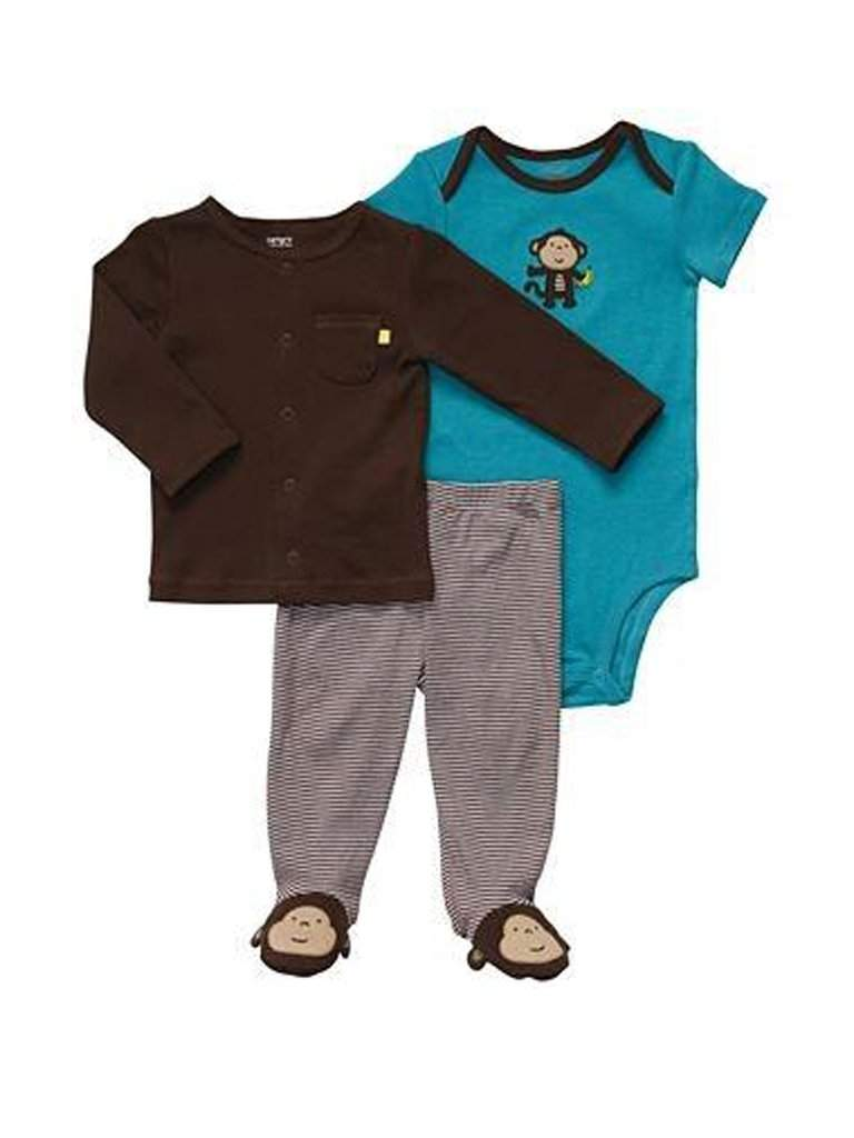 Carter's Brown Monkey Cardigan 3-Pc Set by Carters - My100Brands