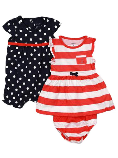 Carter's Baby Girl Dress with Panties and Romper 3-Pc Set by Carters - My100Brands