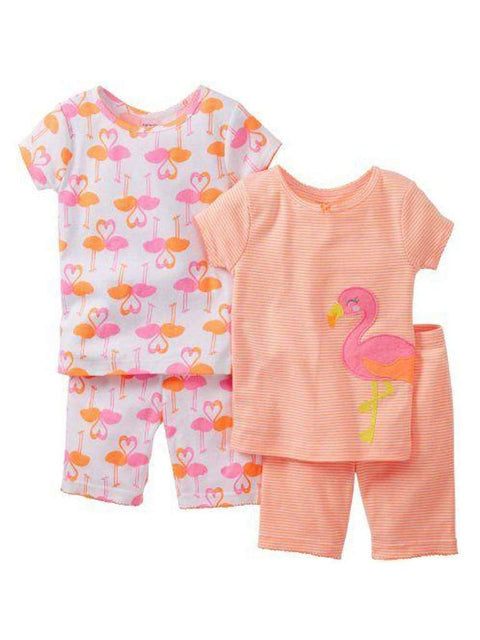 Carter's Baby Girl Cotton Flamingo Short PJ 4-Pc Set by Carters - My100Brands