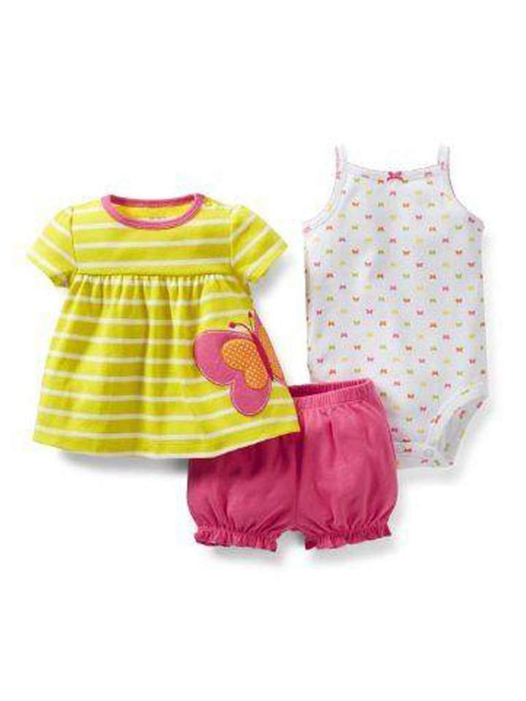 Carter's Baby Girl Bodysuit Shorts 3-Pc Set by Carters - My100Brands