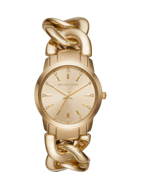 Michael Kors Women's Elena Gold-Tone Stainless Steel Chain Bracelet Watch by Michael Kors - My100Brands