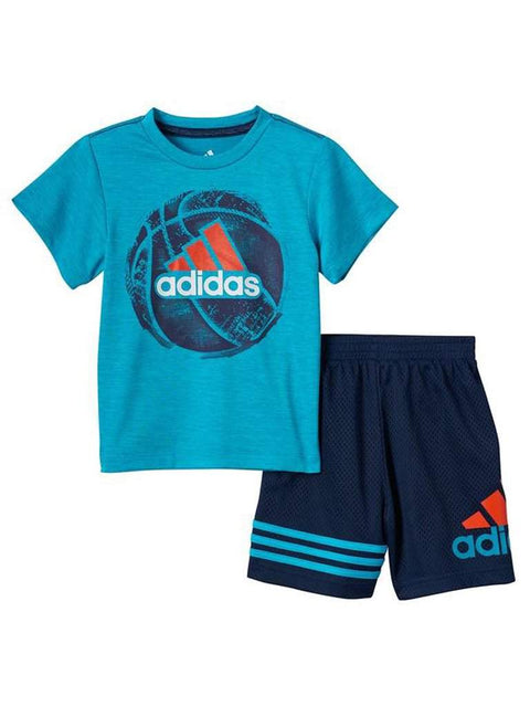 Adidas Sports Ball Graphic Tee and Mesh Shorts Set by Adidas - My100Brands