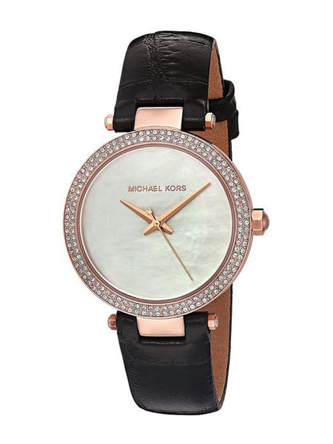 Michael Kors Women's Mini Parker Black Leather Strap Watch by Michael Kors - My100Brands