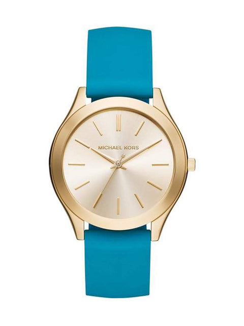 Michael Kors Women's Slim Runway Sporty Teal Silicone Strap Watch by Michael Kors - My100Brands