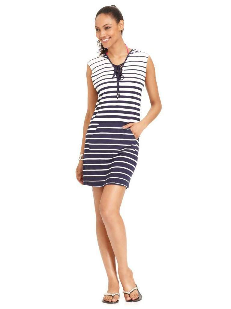 Dotti Sleeveless Striped Hooded Dress Cover-Up by Dotti - My100Brands