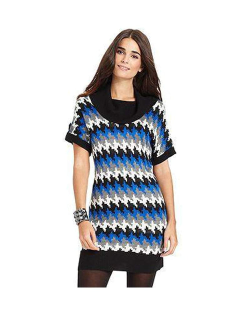 Short Sleeve Printed Cowl Neck Tunic Sweater by My100Brands - My100Brands