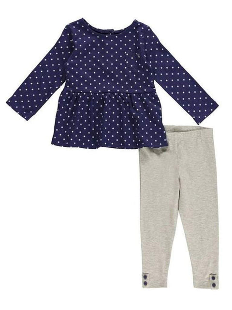 Carter's Girl's Peplum Polka Dot Top and Leggings 2-Pc Set by Carters - My100Brands
