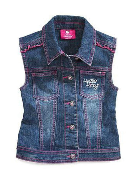 Hello Kitty Girls Rhinestud Denim Vest by Hello Kitty - My100Brands