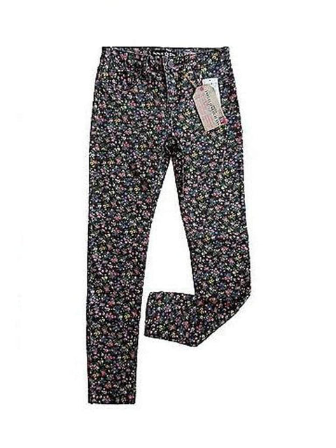 Imperial Star Girl's Skinny Black Floral Print Jeans by Imperial Star - My100Brands