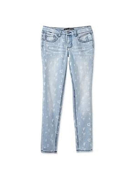 Imperial Star Girl's Wash All-Over Heart Print Skinny Jeans by Imperial Star - My100Brands