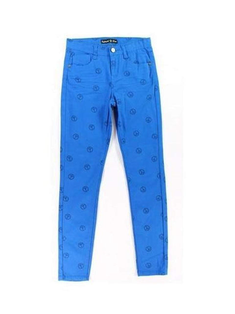 Imperial Star Girls Sky Diver Blue Peace Print Skinny Jeans by Imperial Star - My100Brands