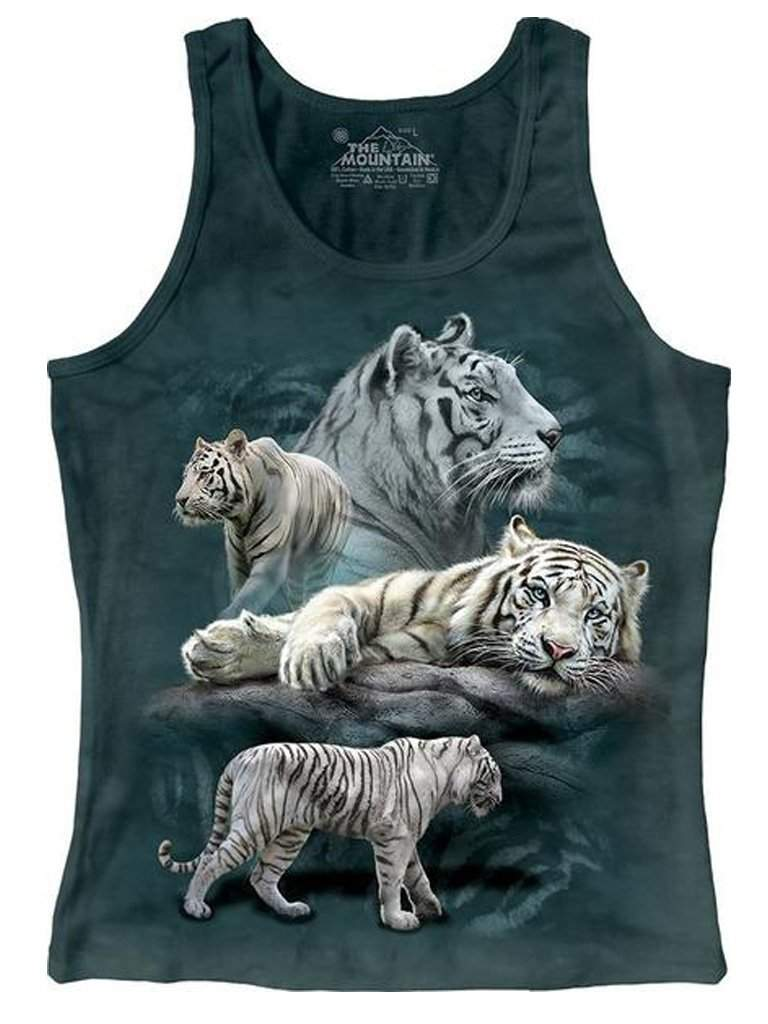 White Tiger Collage Junior Tank Top by The Mountain - My100Brands