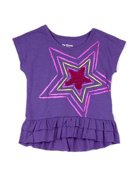 Stars Ruffle Short Sleeve Tee by My100Brands - My100Brands