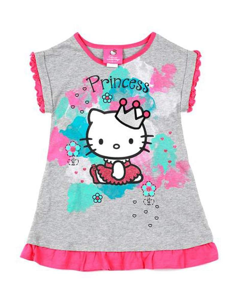 Hello Kitty Girl's Short Puff Sleeve Top with Bottom Ruffles by Hello Kitty - My100Brands