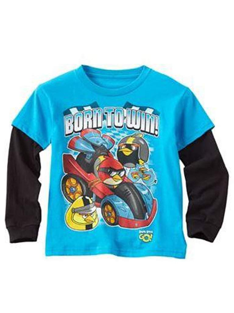 Angry Birds Born To Win! Mock-Layer Boys' Tee by Angry Birds - My100Brands