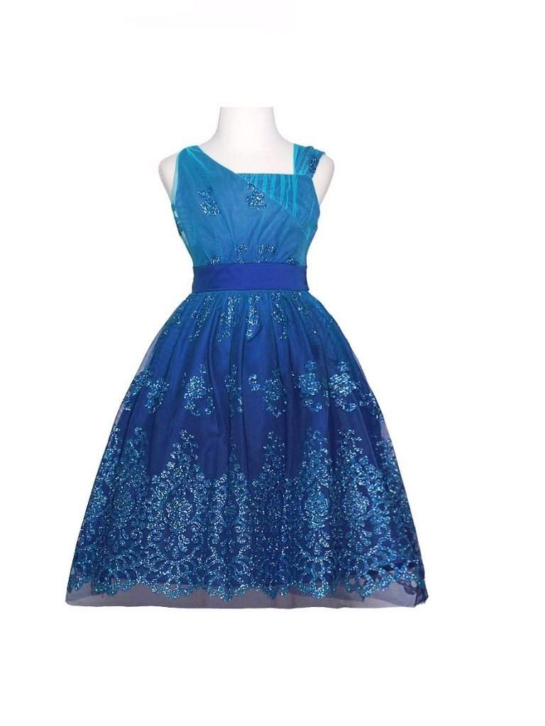 Rare Editions Blue Glitter Christmas Dress Girls by Rare Editions - My100Brands