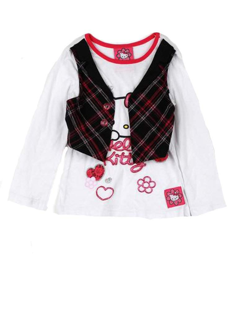 Hello Kitty Plaid Vest Graphic Long Sleeve Tee by Hello Kitty - My100Brands