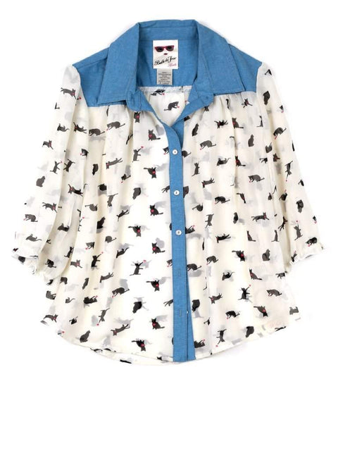 Belle du Jour Girl's Cat Chiffon Shirt by Belle Du Jour - My100Brands