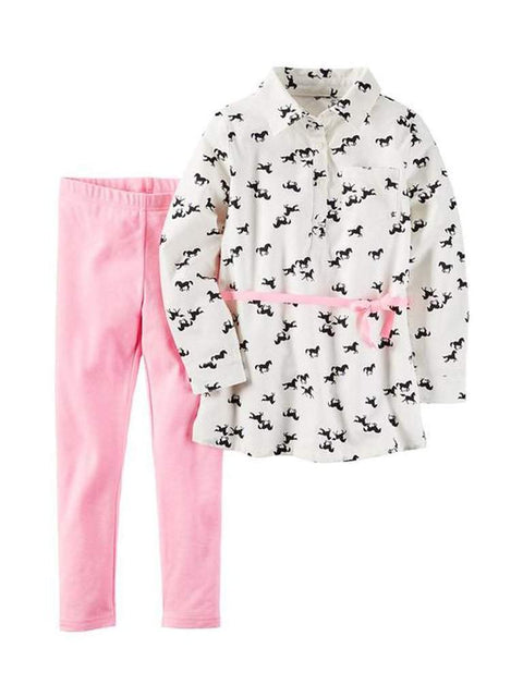Carter's Horse Print Poplin Tunic and Leggings Set by Carters - My100Brands