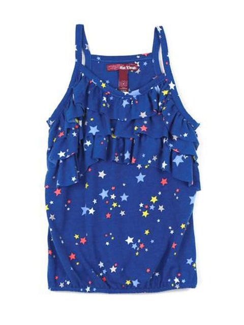 Star Printed Ruffle Tank by My100Brands - My100Brands