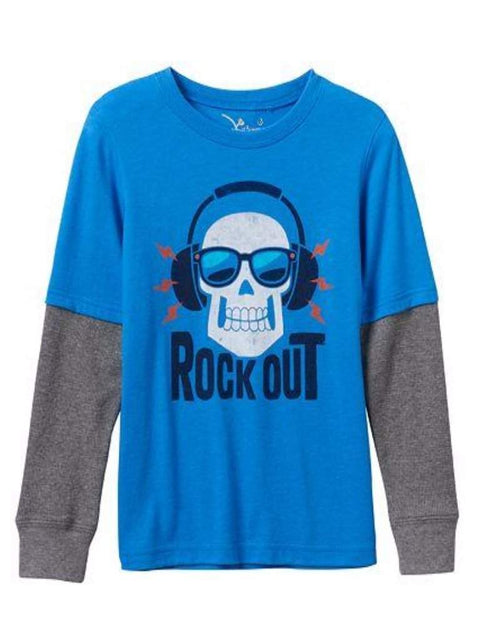 Boy's Rock Out Skull Thermal Skater Tee by Jumping Beans - My100Brands