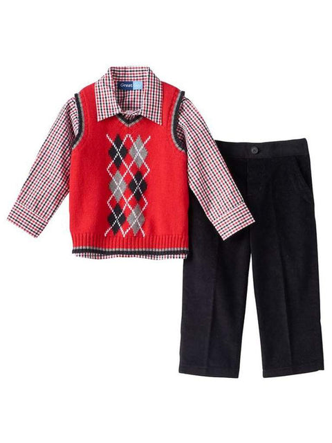 Argyle Vest, Plaid Shirt and Corduroy Pants Set by My100Brands - My100Brands
